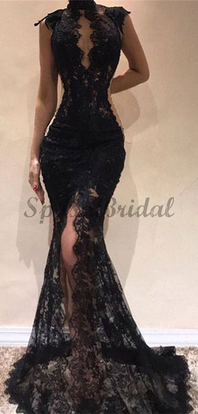 Black Lace Mermaid Unique Design Elegant Popular Fashion Long Prom Dresses PD1431