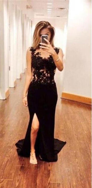 Black Long Sexy Mermaid Side Slit Backless  Lace Prom Dresses,PD0031
