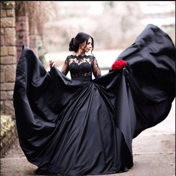 0d82357235b8 Black Long Sleeves Lace Elegant Modest Prom Dress, A-Line Ball Gown Weding  dresses