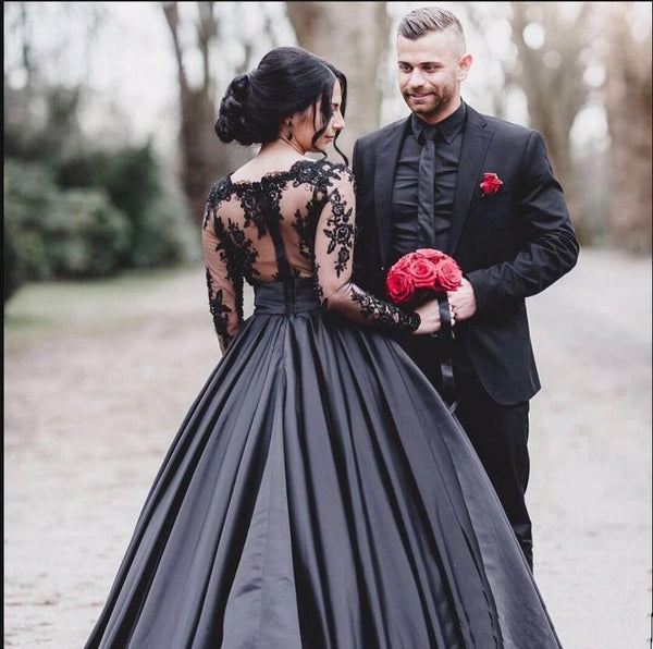 Black Long Sleeves Lace Elegant Modest Prom Dress A Line Ball Gown Weding Dresses Wd0299