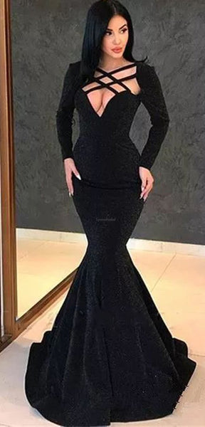 Black Long Sleeves Mermaid Elegant Formal Sexy Cheap Long Prom Dresses  PD1443