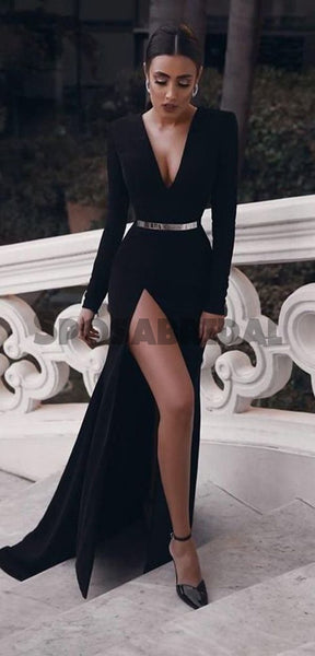 Black Long Sleeves Mermaid Side Slit Simple Elegant Formal Sexy Cheap Long Prom Dresses PD1444