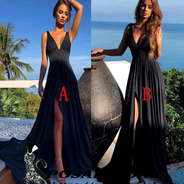Black Long V-neck Sexy Side Split Cheap Simple Bridesmaid Dresses, Prom dresses, WG239 - SposaBridal