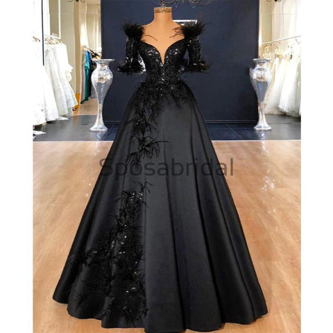 products/Black_Off_the_Shoulder_A-line_Satin_Elegant_Modest_Prom_Dresses_Party_Dress_2.jpg