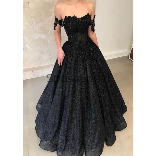 Black Off the Shoulder A-line Sparkly Sequin Elegant Modest Prom Dresses, Ball Gwon, Prom Dress PD1825