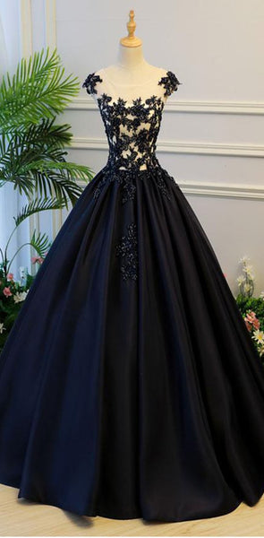 Black Round Neck Satin Long Top Lace and Beaded Prom Dresses, Evening Dresses, Formal Prom Gowns, PD0746