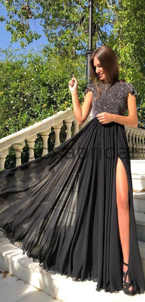 Black Sequin Chiffon Side Slit Cap Sleeves Unique Modest Long Elegant Prom Dresses, Prom Dress PD1826