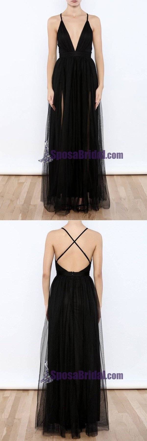 Black Tulle Spaghetti Straps Sexy Deep V Neck Popular Prom Dresses, Evening Dresses, Simple Soft Prom Dress, PD0733 - SposaBridal