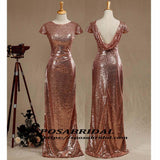 Black and Rose Gold Sequins Mermaid Cheap Sparkly Custom  Cowl Back Cap Sleeves Scoop Bridesmaid Dresses , WG294 - SposaBridal