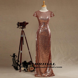 Black and Rose Gold Sequins Mermaid Cheap Sparkly Custom  Cowl Back Cap Sleeves Scoop Bridesmaid Dresses , WG294