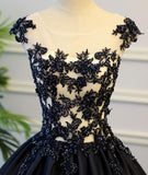Black Round Neck Satin Long Top Lace and Beaded Prom Dresses, Evening Dresses, Formal Prom Gowns, PD0746 - SposaBridal