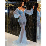 Blue Long Sleeves Sparkly SHinny Meramid Prom Dresses PD2279