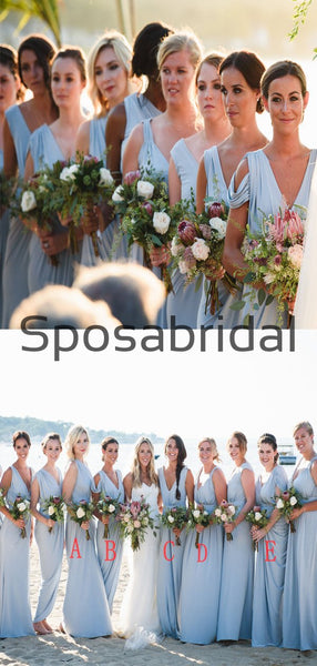 Blue Mismatched Jersey Simple Beach Long Bridesmaid Dresses WG806
