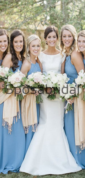 Blue Newest Chamring Chiffon Long Beach Bridesmaid Dresses WG850