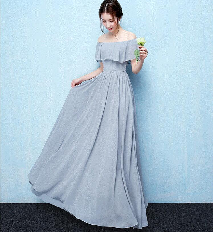 Blue A-Line Chiffon Off Shoulder Simple Soft Cheap Bridesmaid Dresses, Tulle Charming Custom Convertible Bridesmaid Dress Online, WG248 - SposaBridal