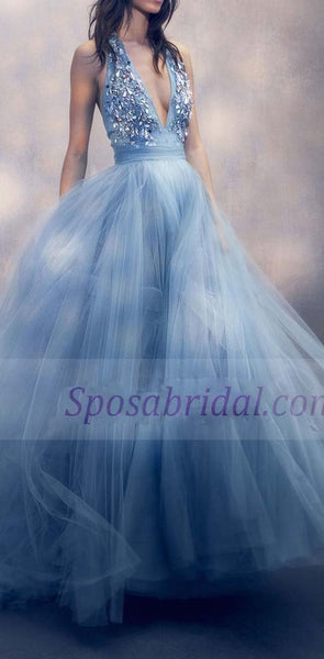 Blue Deep V Neck Sparkly Tulle Long Elegant Formal Real Handmade Prom Dresses, Party Evening dress, PD0657
