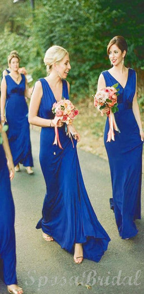 Blue Elegant  Formal Beautiful Spandex V-neck Neckline Floor Length Sheath  Bridesmaid Dresses WG561
