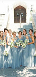 Blue Grey Cheap Long Tulle Mismatched Convertible Bridesmaid Dresses, WG250