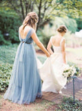 Blue Grey Cheap Long Tulle Mismatched Convertible Pretty Modest Mismatched Fairy Bridesmaid Dresses, Custom Cheap Bridesmaid dresses, WG250 - SposaBridal