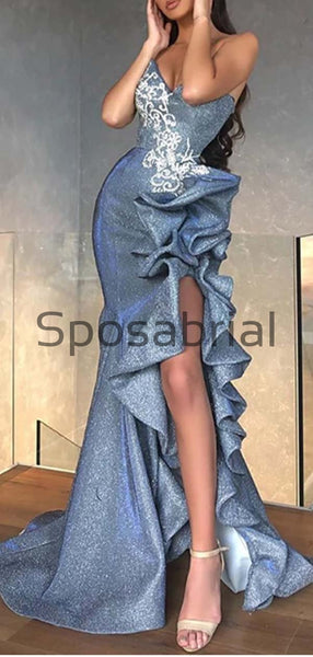 Blue Mermaid New Unique Design Long Side Slit Sparkly Prom Dresses PD2038