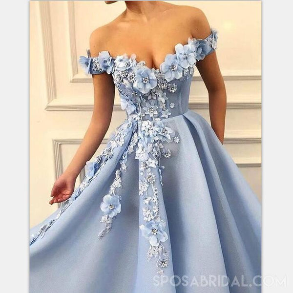 Blue Off Shoulder Appliques A-line Elagant Fairy Long Modest Beautiful Prom Dresses,PD1098