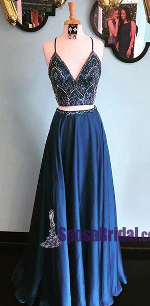 Blue Spaghetti Straps Two Piece V Neck Elegant Free Custom Prom Dresses, 2018 Prom dress, PD0682