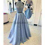 Blue Two Pieces Lace Satin A-line High Neck Long Modest Prom Dresses, Prom Dress PD1828
