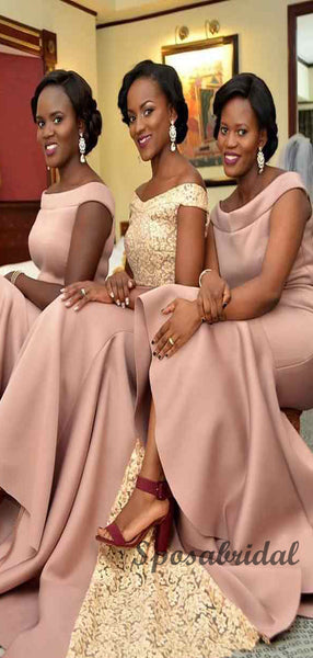 Blush Pink Off the Shoulder Bridesmaid Dresses WG907