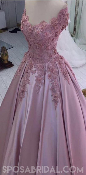 Blush Pink Women Off Shoulder Elegant Pretty Prom Dresses with Appliques ,PD1056 - SposaBridal