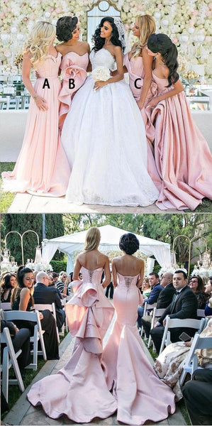Blush Pink Mismatched  Modest Cheap Unique Design Lace up back Bridesmaid Dresses, WG264 - SposaBridal