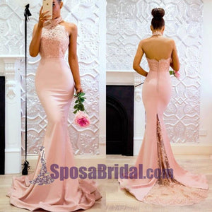 Halter Blush Pink Peach Lace Modest Mermaid Popular Bridesmaid Dresses with train, Fashion Prom Dress,PD0673