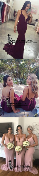 Burgundy Elegant Pink Mermaid Long Modest Cheap Bridesmaid Dresses, Open Back Party Dress, WG295 - SposaBridal