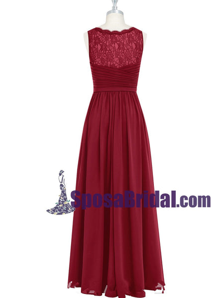 Burgundy Long Chiffon Floor-length Cheap Popular V Neck Bridesmaid Dresses, Wedding Party Dresses , WG236 - SposaBridal