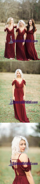 Off Shoulder Burgundy Unique Design New Arrival Long Chiffon Bridesmaid Dresses, Wedding Guest Dress online WG237