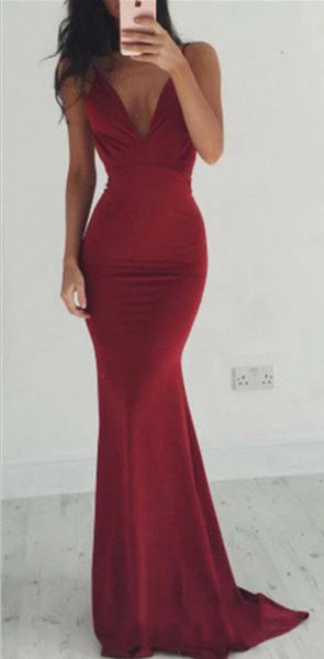 Burgundy Open Back Jersey Spaghetti Strap Mermaid V Neck Long Prom Dresses  PD1168-2