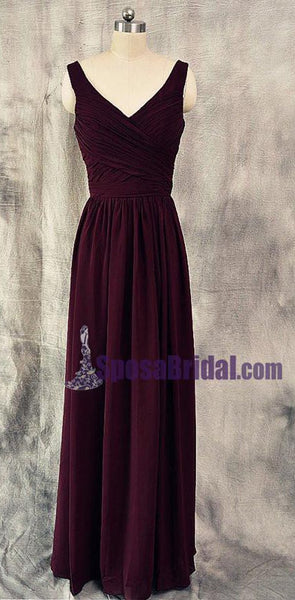 Burgundy V Neck Cheap Chiffon Custom Most Popular Bridesmaid Dresses. Wedding guest dress,  PD0666