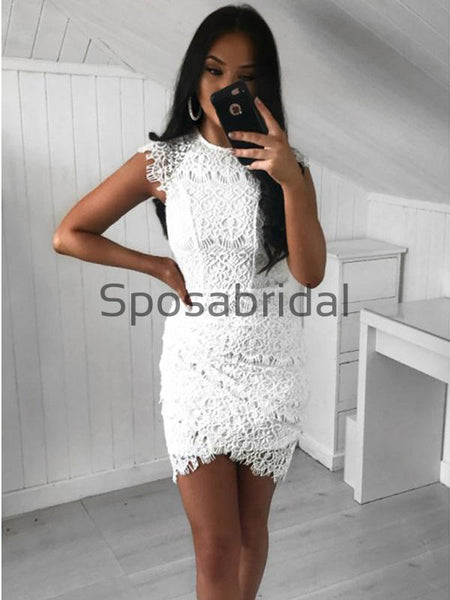 Cap Sleeves Unique Lace Mermaid Short Homecoming Dresses BD0439
