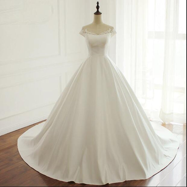 Most Popular Bridesmaid Dress: Cap Sleeves Simple Modest Wedding Dresses, Fashion Most