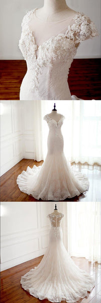 Cap Sleeves Trumpet Sexy Wedding Dresses, High Quality Handmade Bridal Gown with Train , WD0271 - SposaBridal