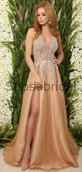Champagne A-line Beaded Long V-Neck Elegant Real Made Prom Dresses, Prom dress PD1829