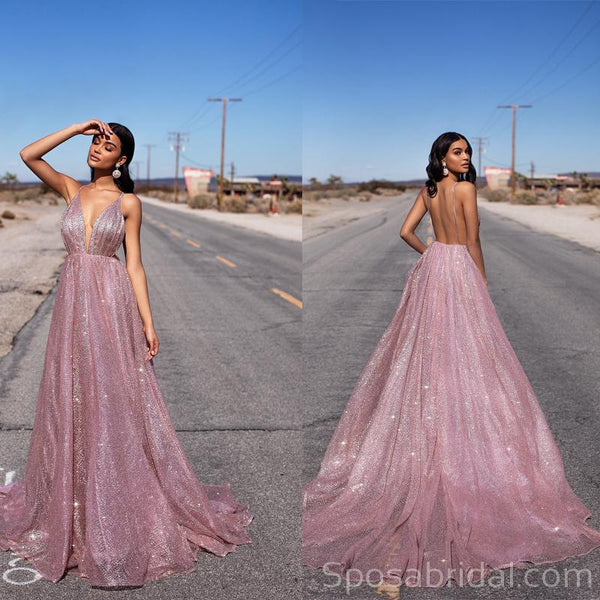 A-line Sequin Spaghetti Straps Rose Gold Long Prom Dresses, Fashion Modest Prom Dress, PD1367