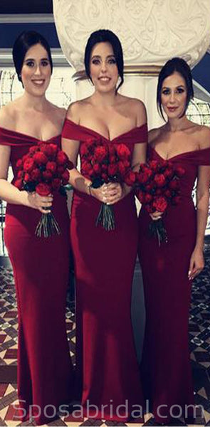 Chamring Custom Simple V-neck Off The Shoulder Mermaid Floor Length Bridesmaid Dresses, WG531