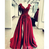 Chamring Split Side Floor Length V-Neck Burgundy Prom Dresses with Appliques Flower ,PD1101