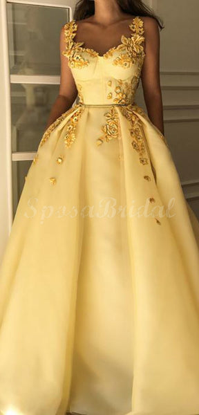 Chamring Yellow A-line Elegant Unique Long Prom Dresses with appliques, Ball Gown PD1420