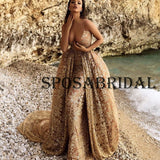 Charming Detachable Gold Gorgeous Fashion Evening Prom Dresses PD2360