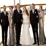 Charming Gray Sequin Mermaid Cap Sleeves Modest Bridesmaid Dresses WG795