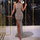 Charming Halter Mermaid Sparkly Stunning Evening Prom Dresses PD2303