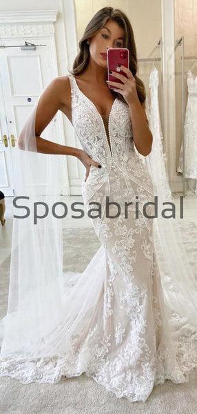 Charming Mermaid Beach Unique Lace Romantic Wedding Dresses WD0433