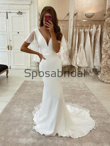 Charming Mermaid Satin Simple Wedding Dresses, Modest Prom Dresses WD0435