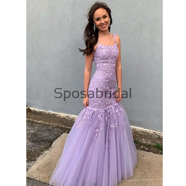 Charming Mermaid Yellow Purple Red  Lace Long Prom Dresses PD2266
